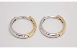 Dámske náušnice žlté a biele zlato Kruhy - 14 mm