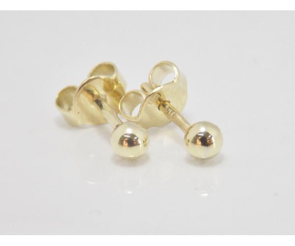 Dámske náušnice žlté zlato Ball - 3 mm