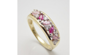 Dámsky prsteň žlté zlato Ideal JM349-pink