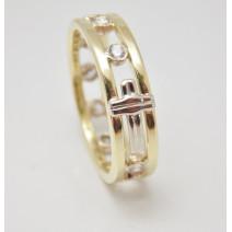 Dámsky prsteň žlté zlato Ruženec