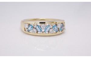 Dámsky prsteň žlté zlato Ideal JM349-blueII