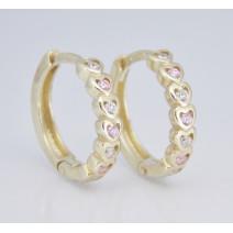 Detské náušnice žlté zlato Srdiečka C3341-white,pink