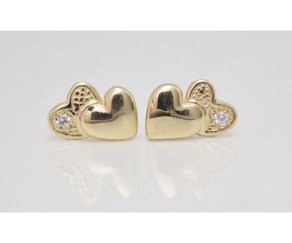 Dievčenské náušnice žlté zlato Dve srdcia