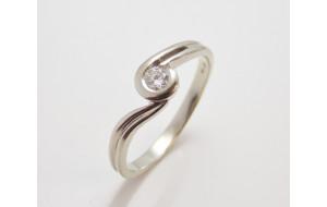 Prsteň s diamantom 0,16 ct z bieleho zlata Beauty