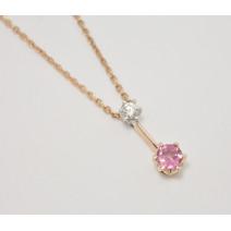 Retiazka s príveskom s diamantom a turmalínom Pink Love