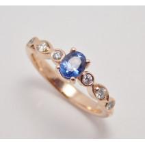 Prsteň so zafírom a diamantmi Afrodita