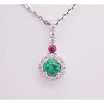 Prívesok so smaragdom,rubínom a diamantmi Iris