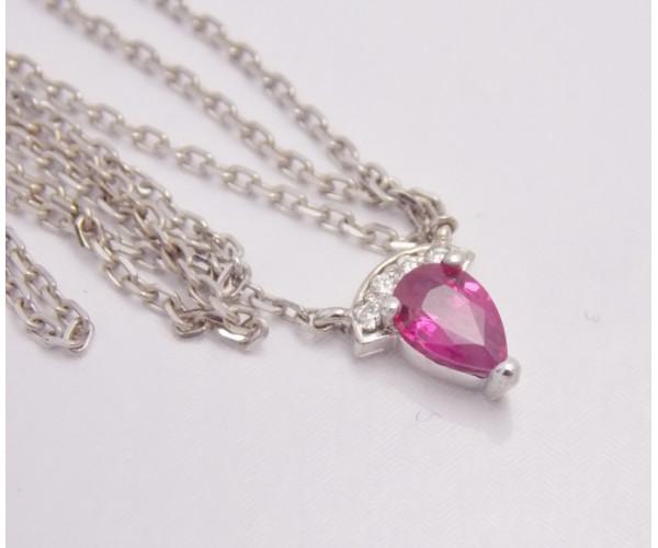 Retiazka s príveskom s rubínom a diamantmi Flora