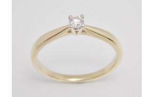Prsteň s diamantom 0,12 ct  zo žltého zlata Orion