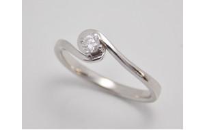 Prsteň s diamantom 0,08 ct z bieleho zlata Ava