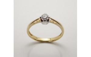 Prsteň s diamantom 0,23 ct zo žltého zlata Venezia