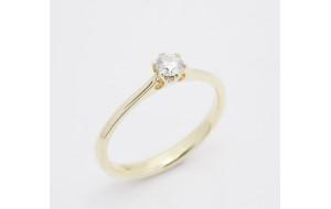 Prsteň s diamantom 0,14 ct  zo žltého zlata Happy
