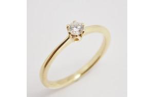 Prsteň s diamantom 0,16 ct  zo žltého zlata Milano