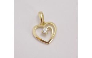 Prívesok žlté zlato Srdce DF1602