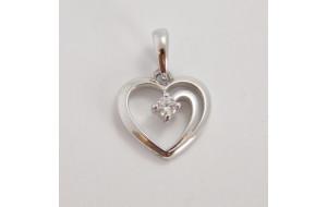 Prívesok biele zlato Srdce DF1602