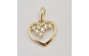Prívesok žlté zlato Srdce DF1606