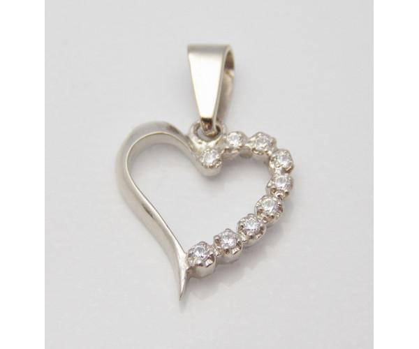 Prívesok biele zlato Heart special