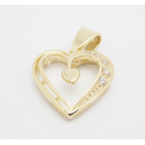 Prívesok žlté zlato Heart in Heart