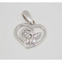 Prívesok biele zlato Srdce s motýľom