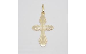 Prívesok žlté zlato Krížik vyrezávaný
