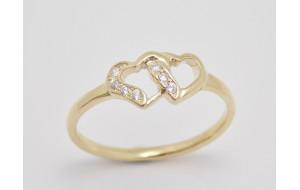 Zásnubný prsteň žlté zlato Twins
